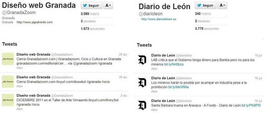 Diario de Leon y Disenno web Granada, Malas prácticas en social media