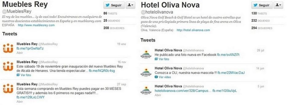 Muebles Rey y Hotel Oliva Nova, Malas prácticas en social media