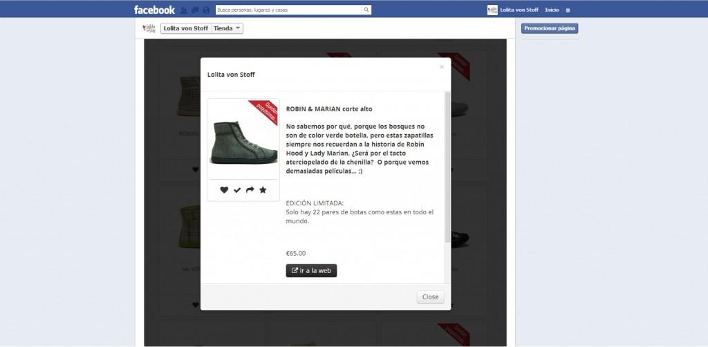 ficha de producto tienda en Facebook Fanvitrine